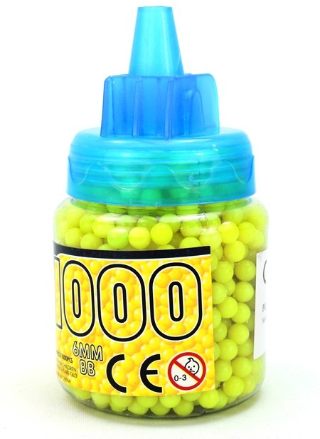 Kugelmunition  1000er-gelb in Flasche ca 11 cm