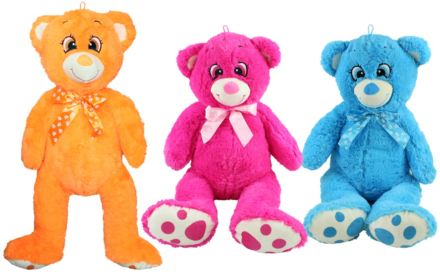 Bär mit gestickten Augen 3 Farben sortiert - ca 75cm
