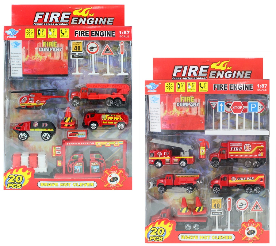 Feuerwehrset METALL 2-fach sortiert in Box ca 33x21x4cm