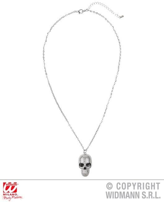 Halskette mit silbernem Totenkopf