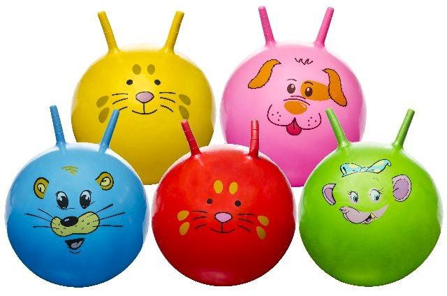 Hüpfball mit Tiergesicht mehrfach sortiert - ca 46 cm