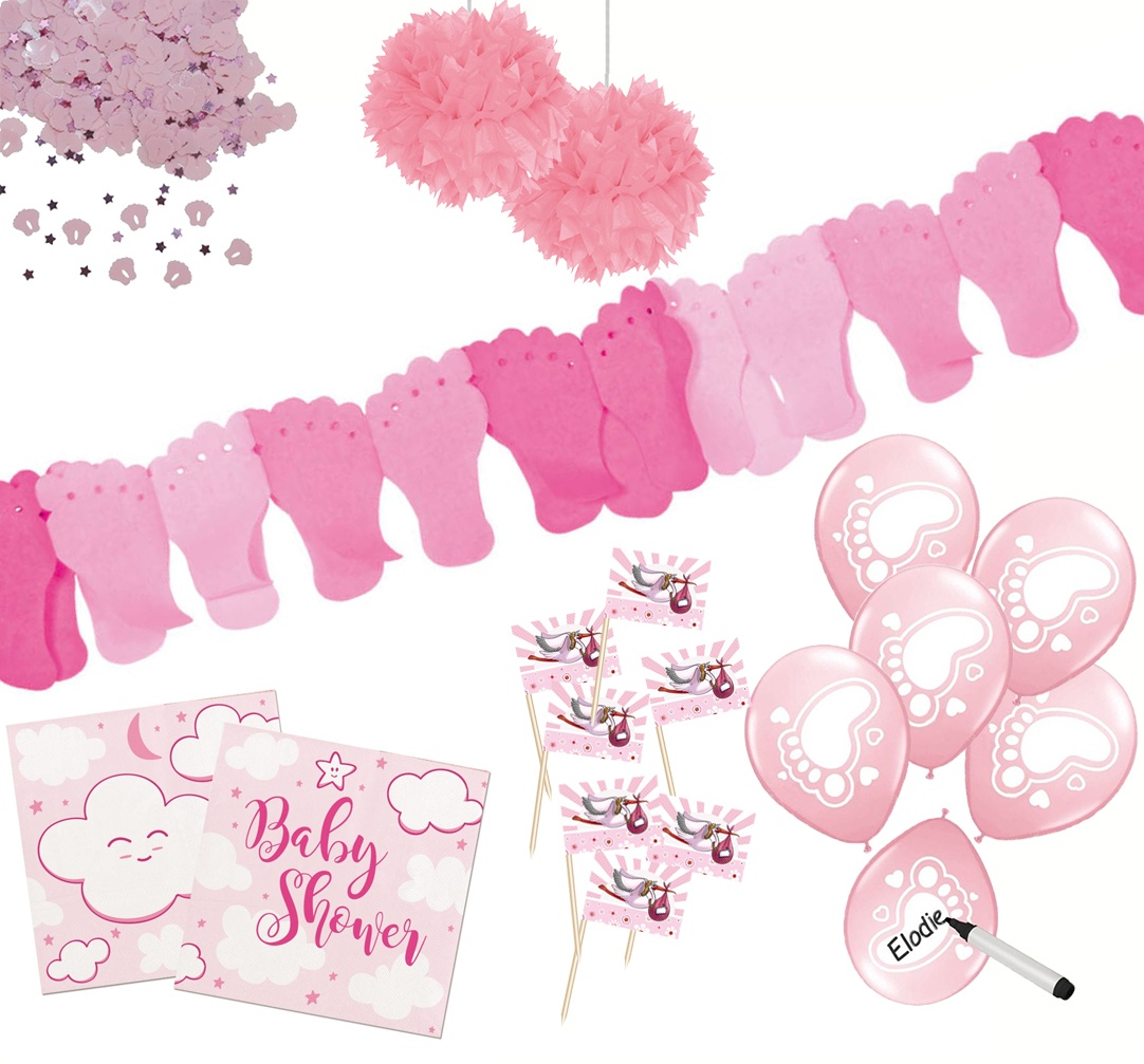 Baby-Partyset rosa 80 teilig