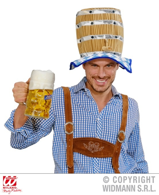 Hut mit Bierfaß - ca 30 cm hoch