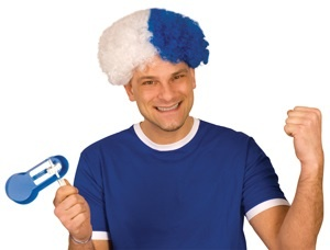 Perücke Perücke Afro blau/weiß