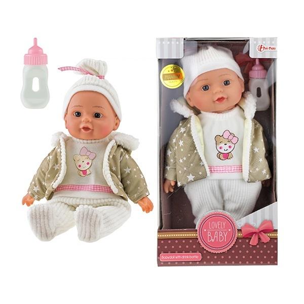 Babypuppe PREMIUM QUALITY mit Winterkleidung + Trinkflasche