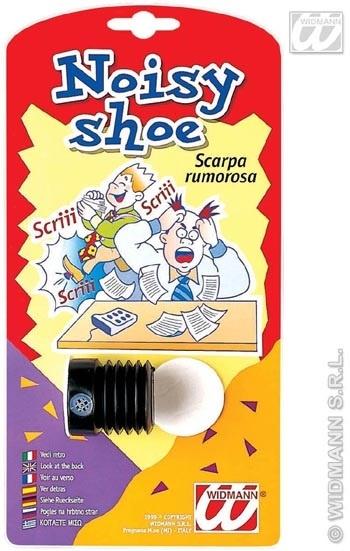 Scherz - lärmende Schuhhupe auf Karte ca 23x12cm