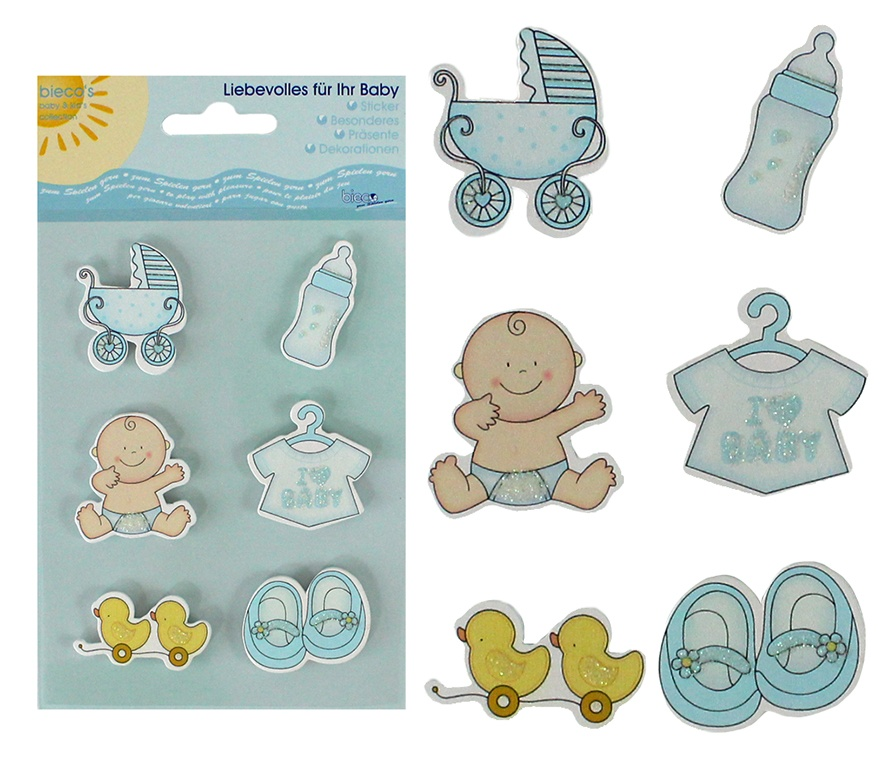 Bieco Holz-Sticker Babymotive blau 6 Stück