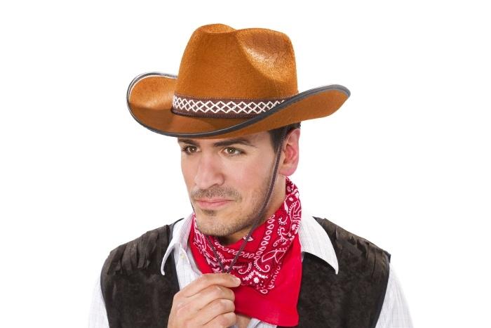 Cowboyhut mit Band, braun