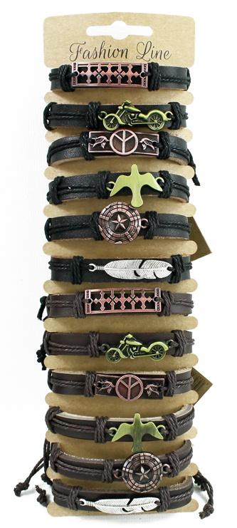Armband Lederamband mit Metall Applikationen 6fach sortiert