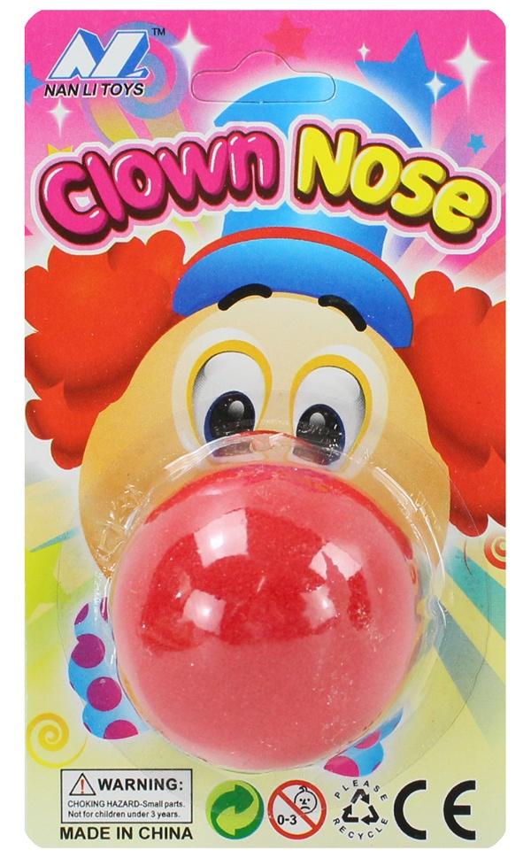 Clownnase Schaumstoffnase  rot auf Karte ca 45 mm