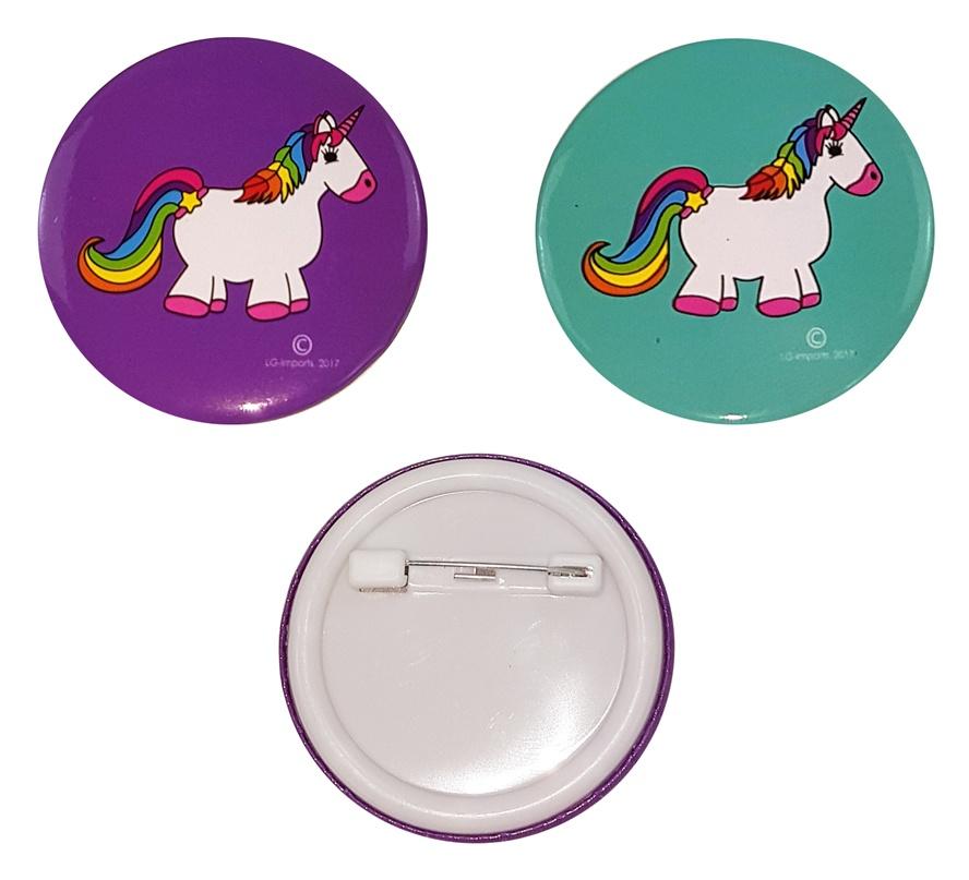 Einhorn Button zum Anstecken 2-fach sortiert ca  4,5 cm