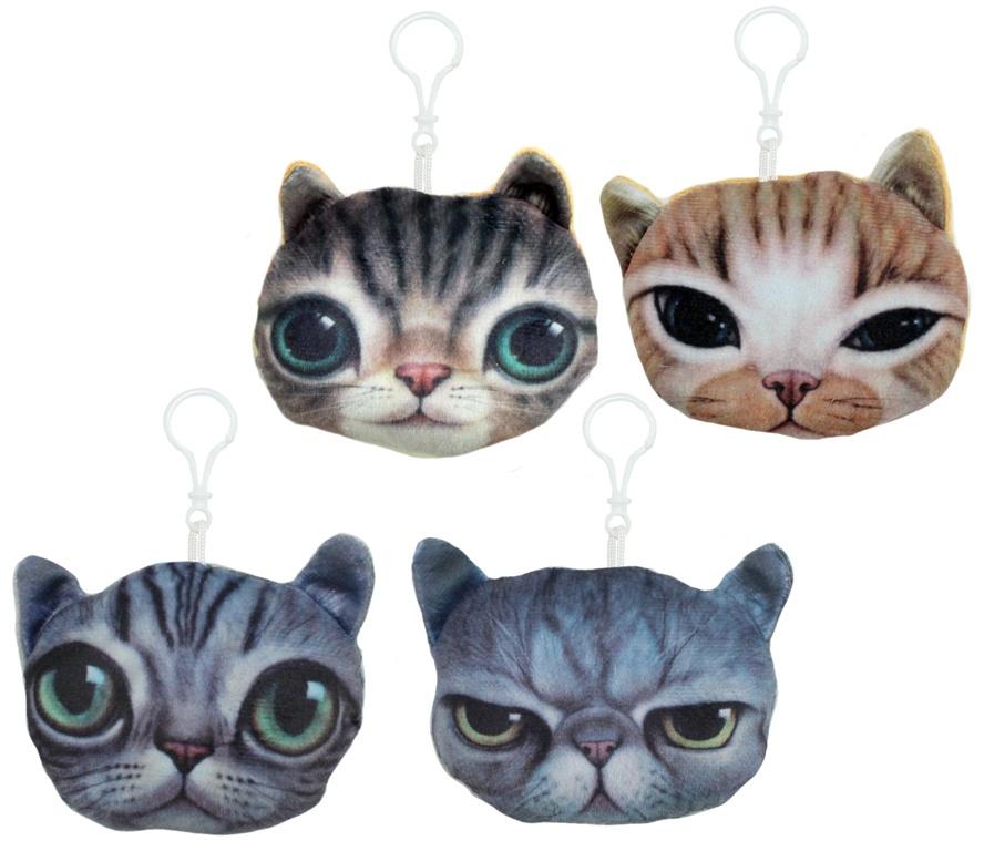 Katzen Kissen 4-fach sortiert 3D an Karabiner - ca 11,5cm