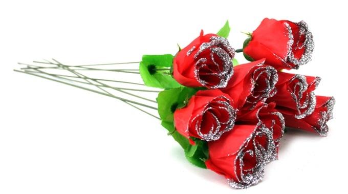 Rose rot mit Silberglitzer - ca 46cm