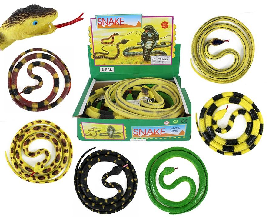 Schlange Gummischlange 6-farbig sortiert - gesamt ca 142cm