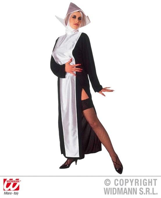 Kostüm Nonne (Kleid und Kopfbedeckung) Größe L