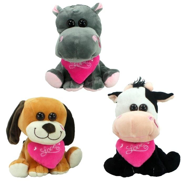 Plüsch Tiere sortiert Nilpferd, Hund und Kuh ca 17-19 cm