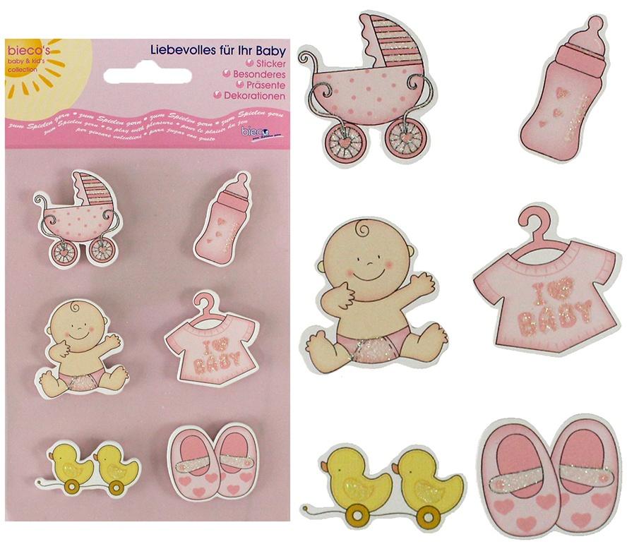 Bieco Holz-Sticker Babymotive rosa 6 Stück -