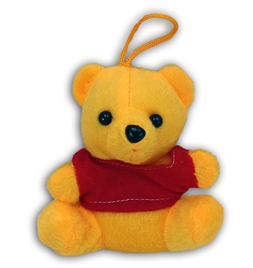 Bär sitzend gelb mit rotem T-Shirt - ca 12cm