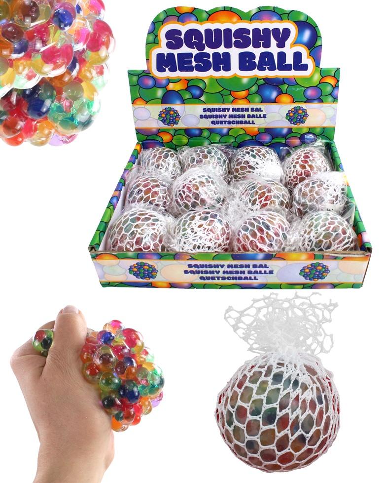 Knautschball im Netz multifarben ca 60 mm