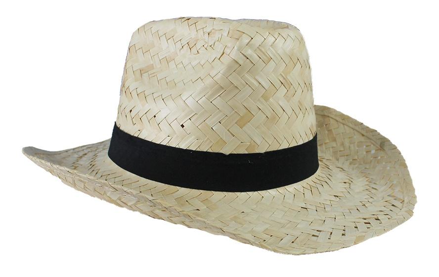 Strohhut mit Hutband -ca  35 x 35 x 13 cm