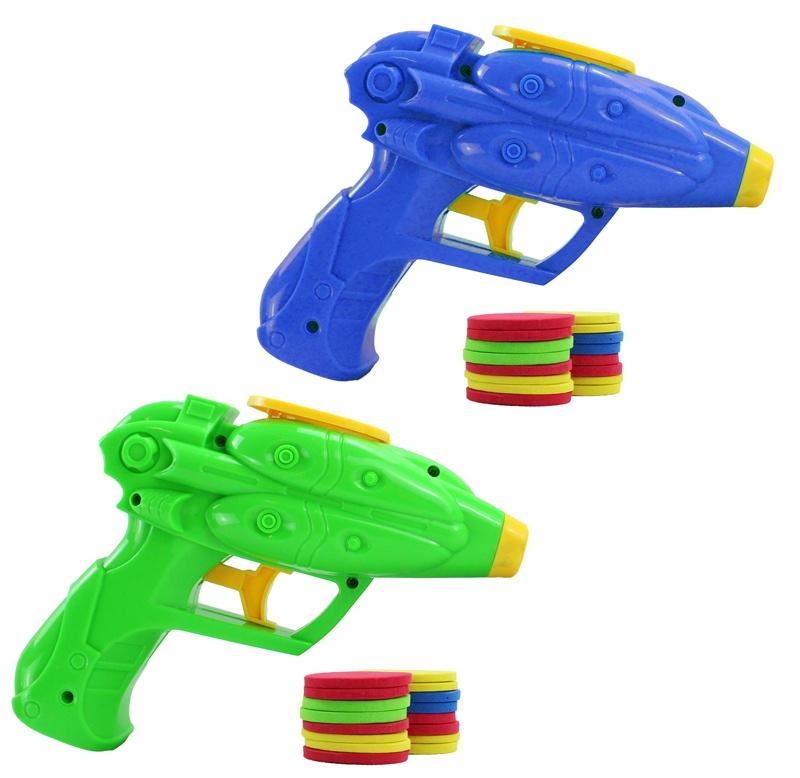 Pistole Scheibenabschießer  2 farbig sortiert ca 16 cm
