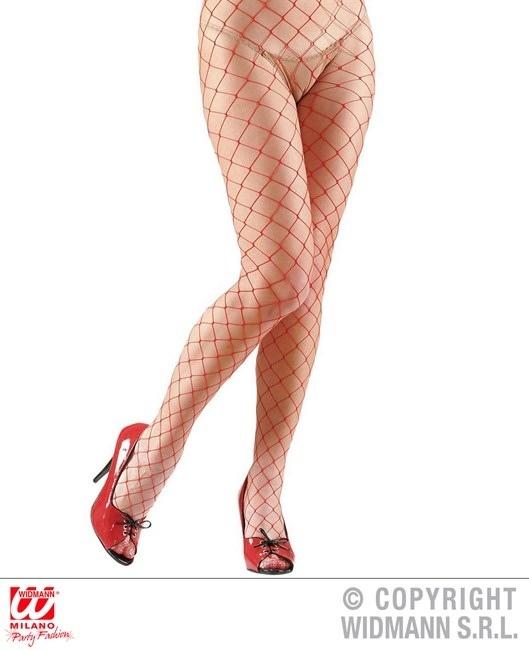 Netzstrumpfhose rot mit großen Maschen