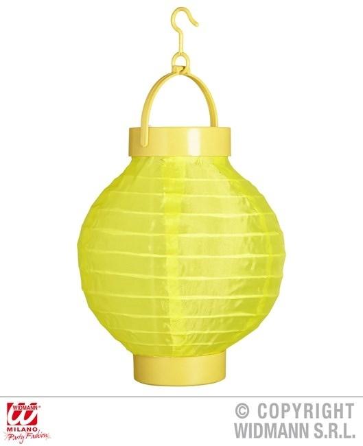 Lampion gelb mit 2 weissen LED Lichtern ca 15 cm