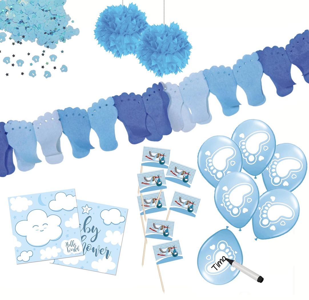 Baby-Partyset blau 80 teilig