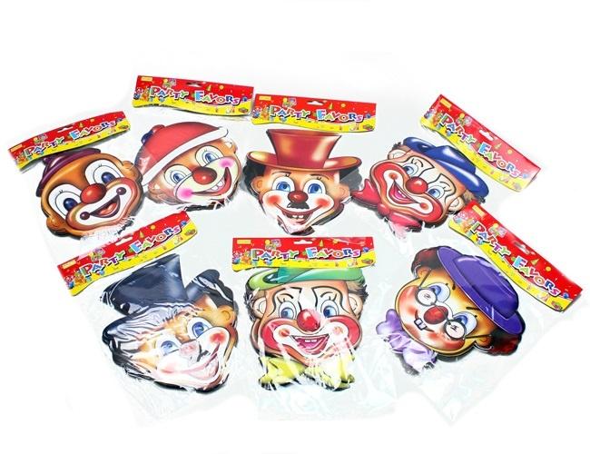 Maske Clownmaske Pappe mehrfach sortiert