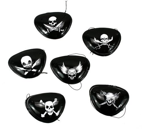 Piraten Augenklappe 6-fach sortiert - 8,5cm