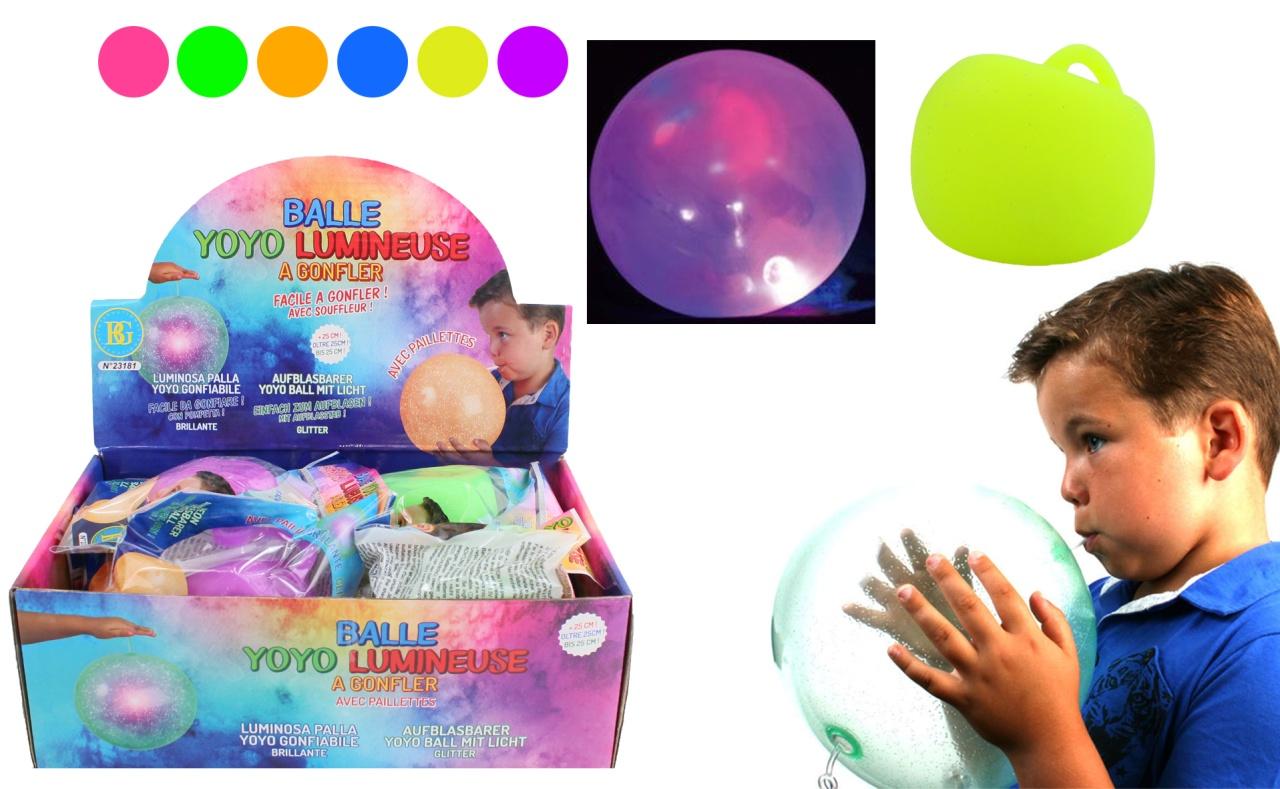 Ballonball mit Licht 6-fach sortiert - ca 25cm