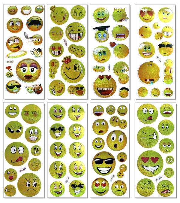 Sticker Emoticon 8-fach sortiert auf Bogen - ca 15x6,5cm