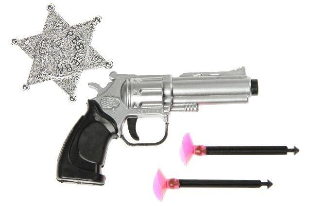 Pistole mit 2 Pfeilen und Sheriffstern - ca 11,5cm