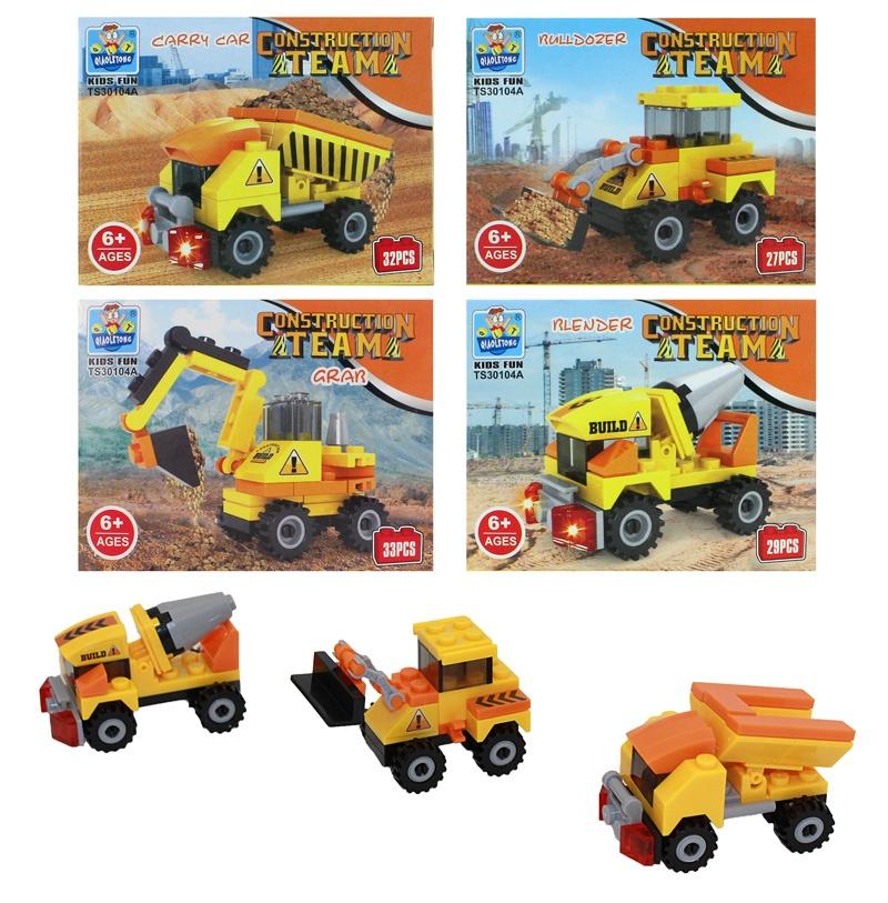 Bausteine Baufahrzeuge 4-fach sortiert - in Box ca 9x7x4,5cm
