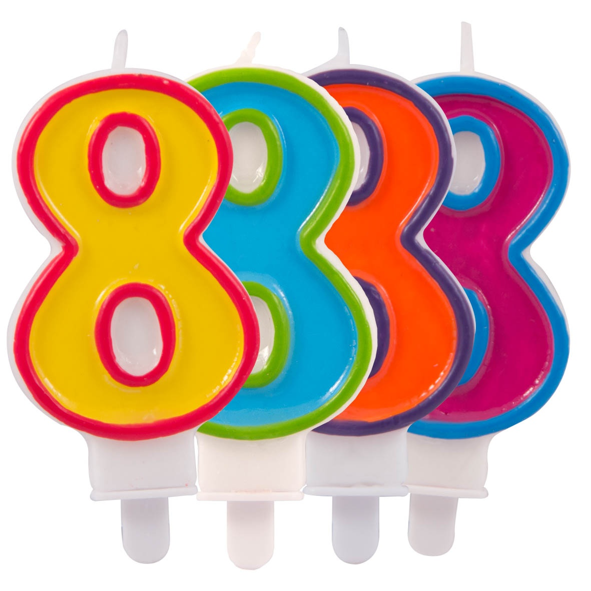 Zahlenkerze  8 4-fach sortiert - ca 7,5 cm