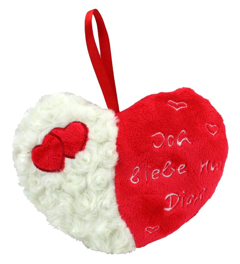 Herz  mit Stickerei und Fell - ca 21cm