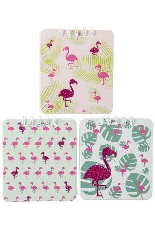 Notizbuch Flamingo 3-fach sortiert ca 9x8cm