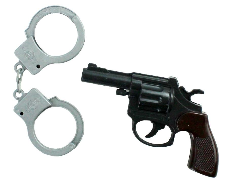 Pistole mit Handschellen - ca 14 cm
