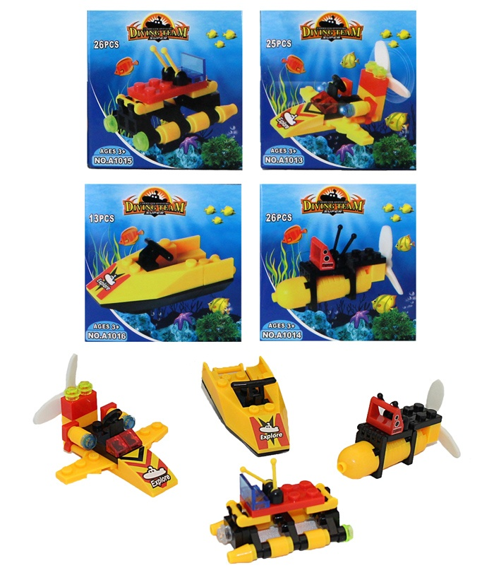 Bausteine Tauchboote 4-fach sortiert - in Box ca 7x7x4,5cm