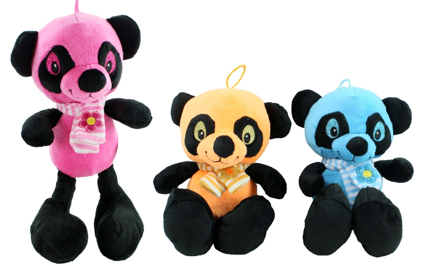 Panda mit Glitzeraugen 3-fach sortiert ca 30 cm