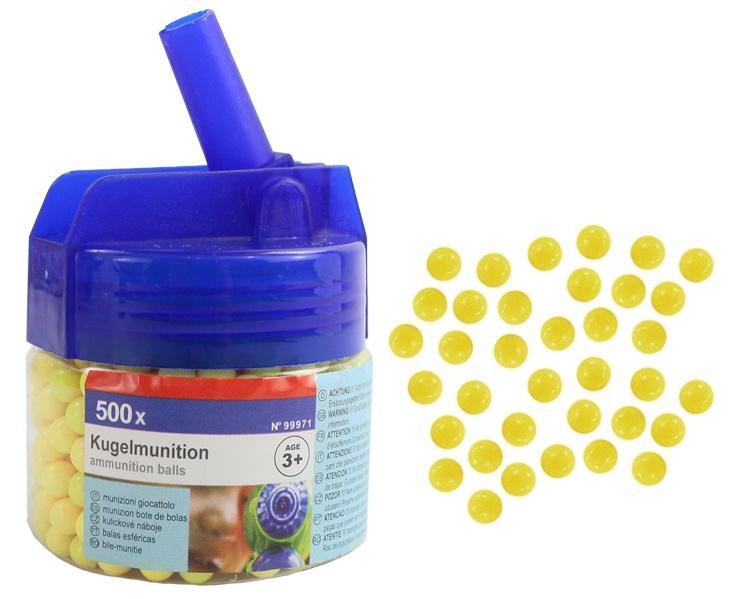 Kugelmunition 500er gelb in Dose ca 6,5x6 cm