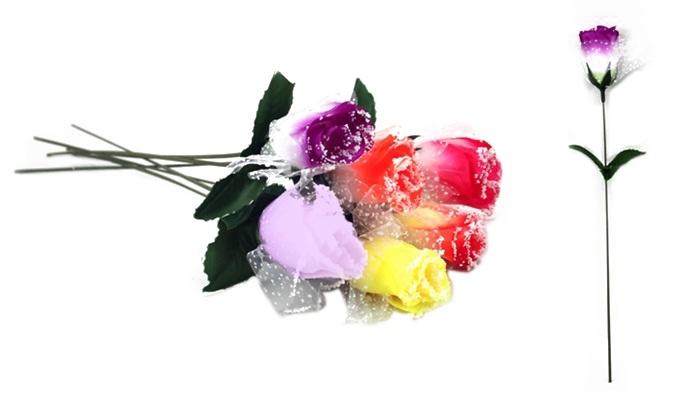 Rose mit Tüll und Schnee 6-fach farblich sort - ca 32,5cm