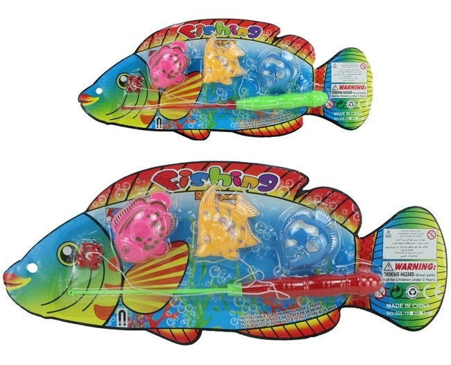 Angelset mit 3 Fischen 2-fach sortiert auf Karte ca 38x15cm