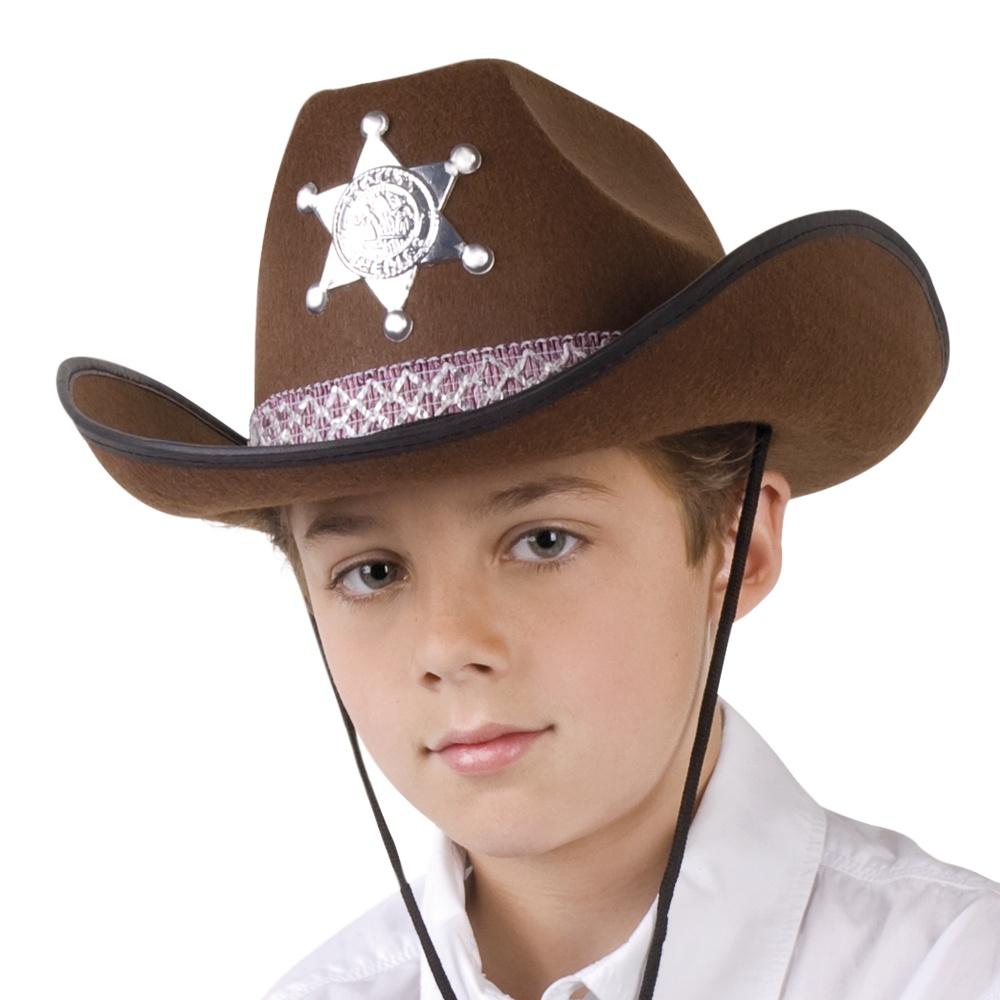 Cowboyhut Sheriff für Kinder braun