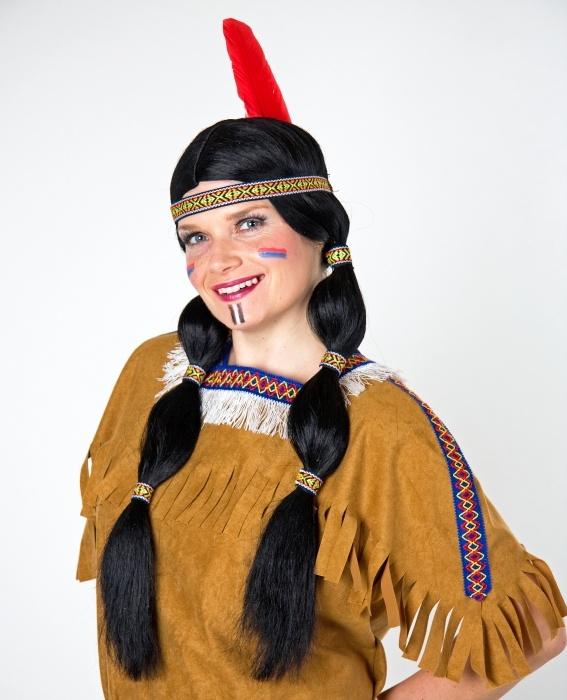 Indianer/in: Zopfperücke schwarz