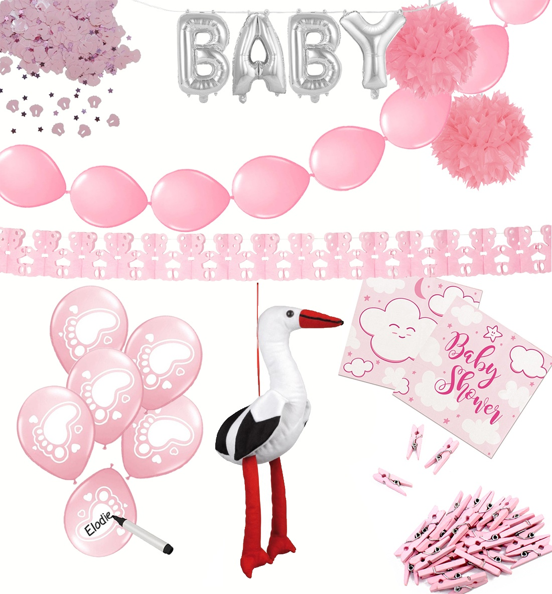 Baby Party Set rosa 67 Teilig