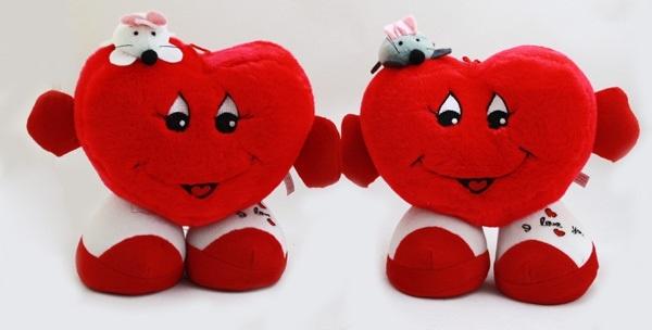 Herz mit Gesicht, Armen, Beinen und Maus 2-fach - ca 38cm