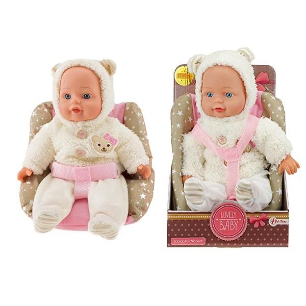 Babypuppe PREMIUM QUALITÄT mit Kindersitz - ca 34cm