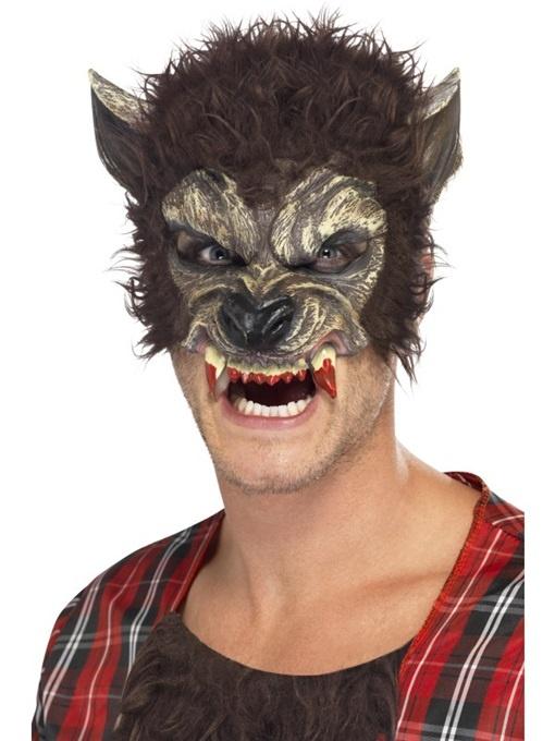 Halbmaske Werwolf mit Fell und Zähnen