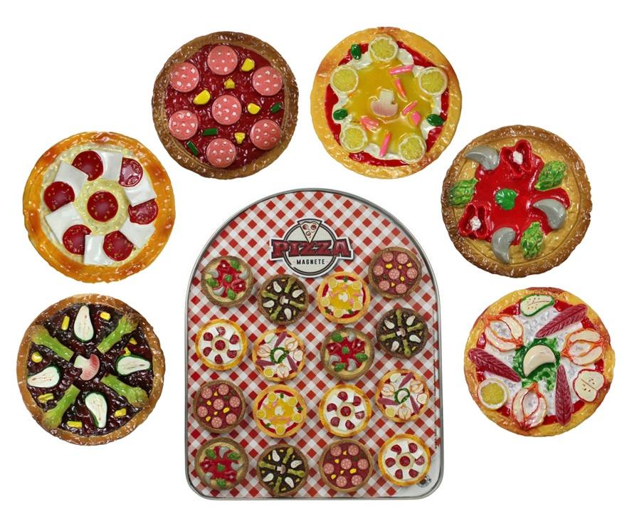 Magnet Pizza 6 fach sortiert - ca 4,5cm